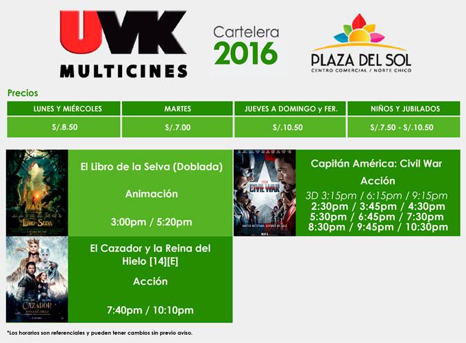 Plaza del sol Huacho - Cartelera del 28 al 04 de mayo