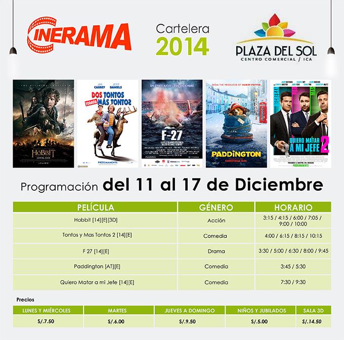 Plaza del Sol Ica - Cartelera del 11 al 17 de Diciembre