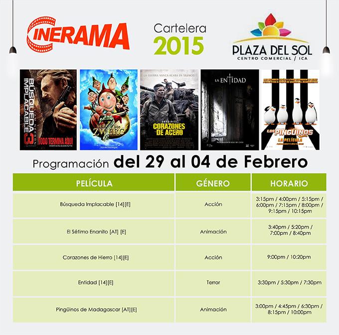Plaza del Sol Ica - Cartelera del 29 de Enero al 02 de Febrero