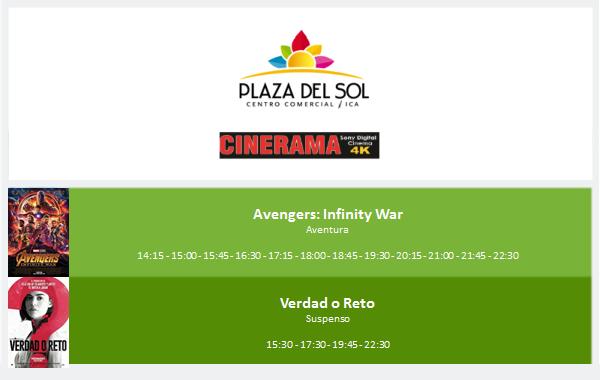 Plaza del Sol Ica - Cartelera