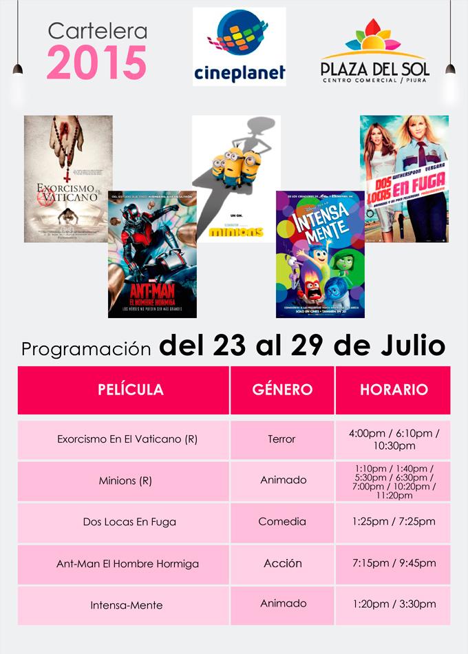 Plaza del Sol Piura - Cartelera del 23 al 29 de Julio