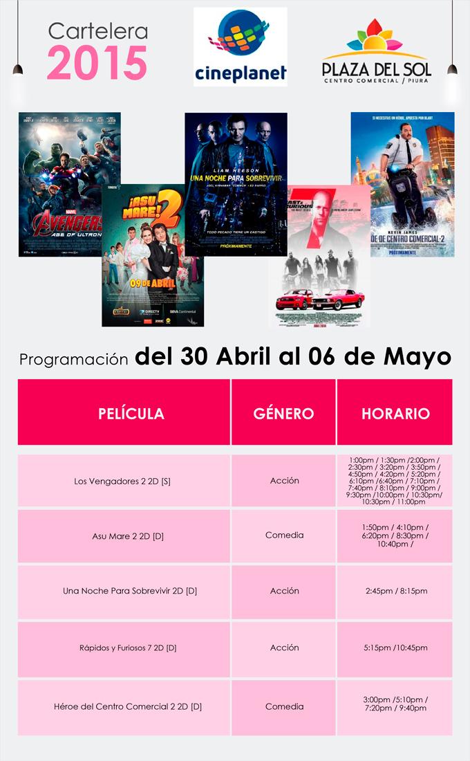 Plaza del Sol Pira - Cartelera del 30 de Abril al 06 de Mayo