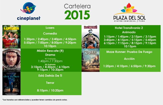 Plaza del Sol Piura - Cartelera del 01 al 07 de Octubre