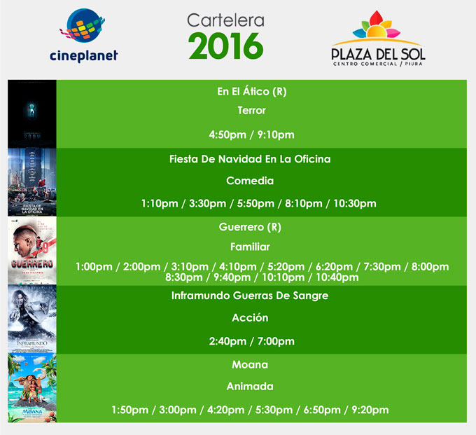 Plaza del sol Piura - Cartelera del 08 al 14 de Diciembre