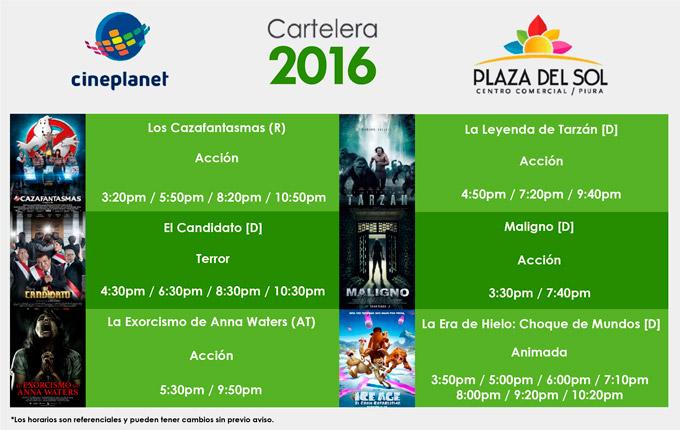 Plaza del sol Piura - Cartelera del 21 al 27 de Julio
